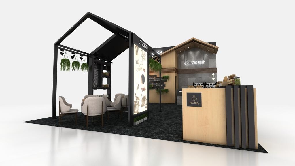 來做設計展場攤位設計咖啡展木作房屋造型